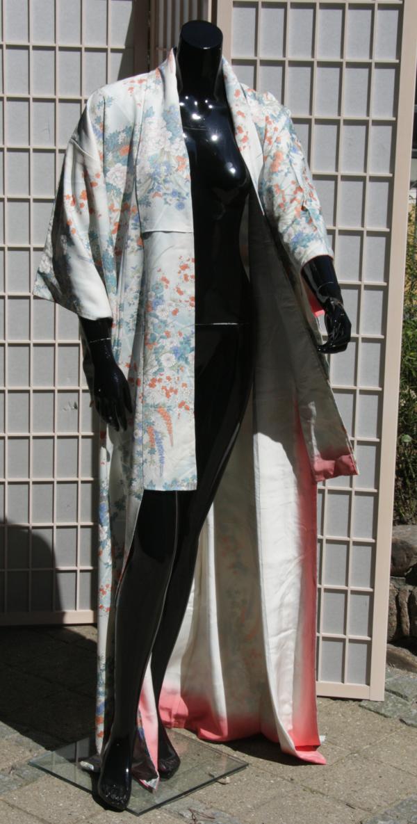 blomstret lang kimono